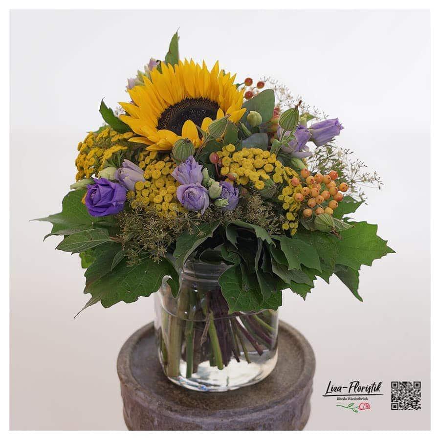 Sonnenblume, Lisiathus und Rheinfarn