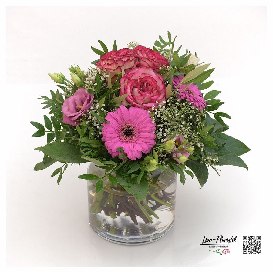 Blumenstrauß mit Rosen, Gerbera, lisianthus und Schleierkraut