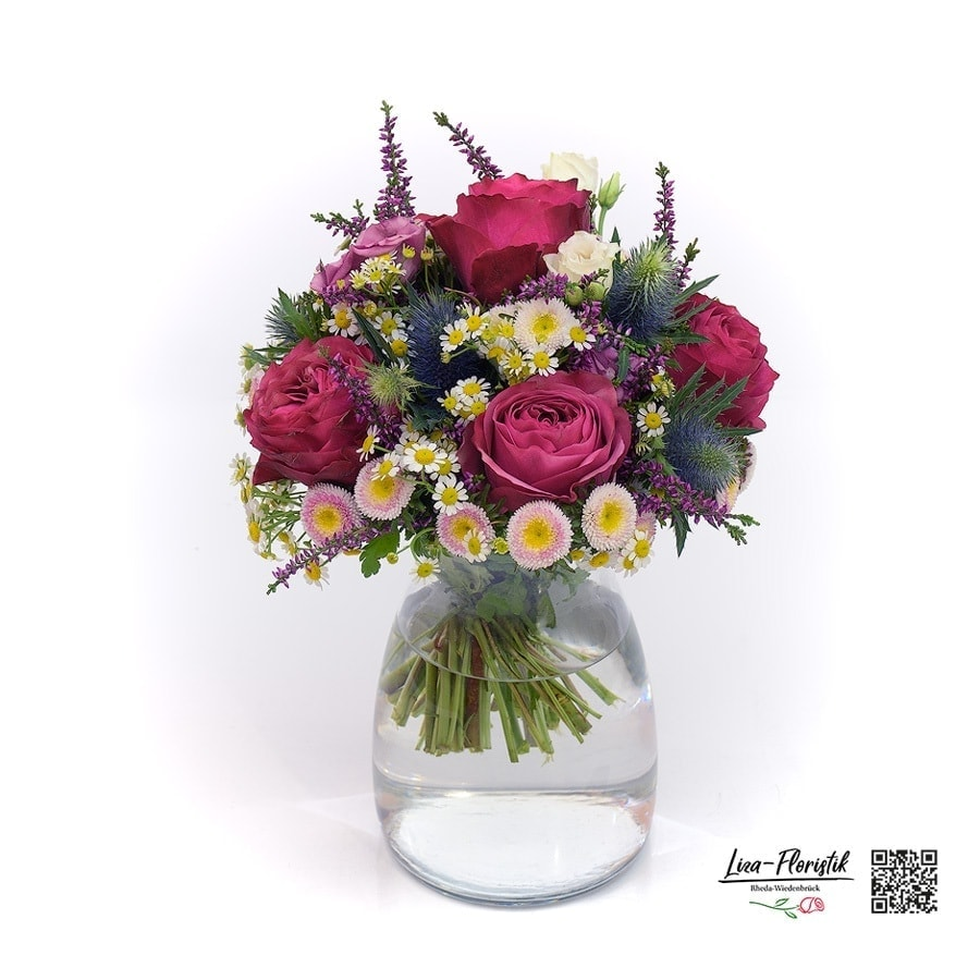 Blumenstrauß mit Rose, Aster, Distel, Lisianthus, Kamille, und Calune