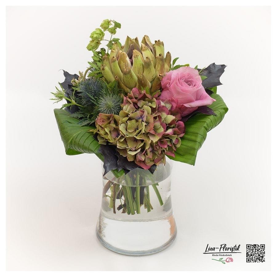 Blumenstrauß mit Ecuador Rose, Artischocke, Protea und französischer Hortensie