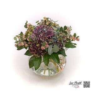 Blumenstrauß mit französischen Hortensien und Eukalyptus