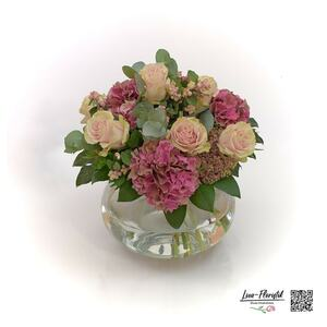 Blumenstrauß mit Ecuador Rosen Pink Mondial, Eukalyptus und Hortensien