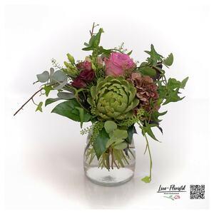 Blumenstrauß mit rosa ecuador Rose, Hortensien, Artischocke, Lisiantus und Eukalyptus