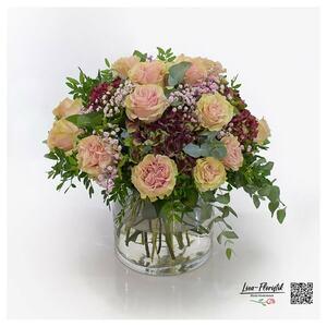 Blumenstrauß mit Ecuador Rosen Pink Mondial, Hortensien, Eukalyptus und rosa Schleierkraut
