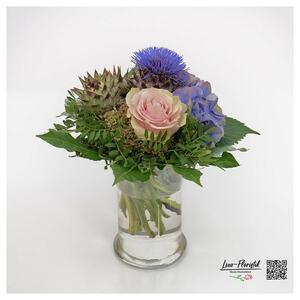 Blumenstrauß mit Rose, Hortensie, Protea und Artischocke