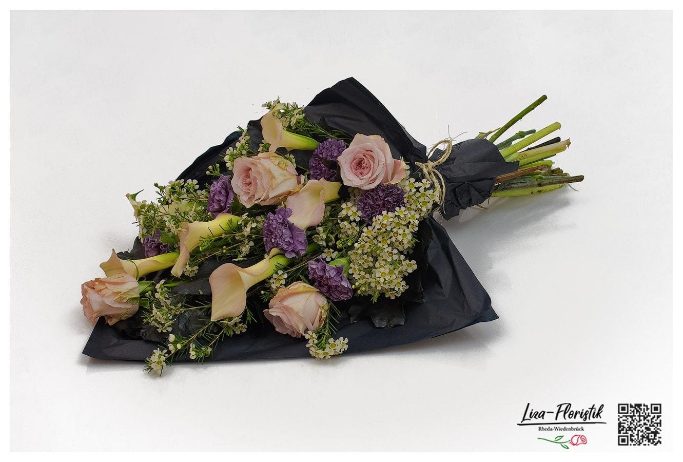 Blumenstrauß - Trauerstrauß mit Ecuador Rosen Pink Mondial, Calla, Nelken, Wachsblumen und Eichenlaub