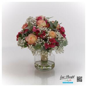 Hochzeit, Brautstrauß mit Ecuador Rosen und Mininelken