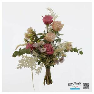 Hochzeit – Brautstrauß mit Rosen, Ruscus, Lisianthus und Eukalyptus