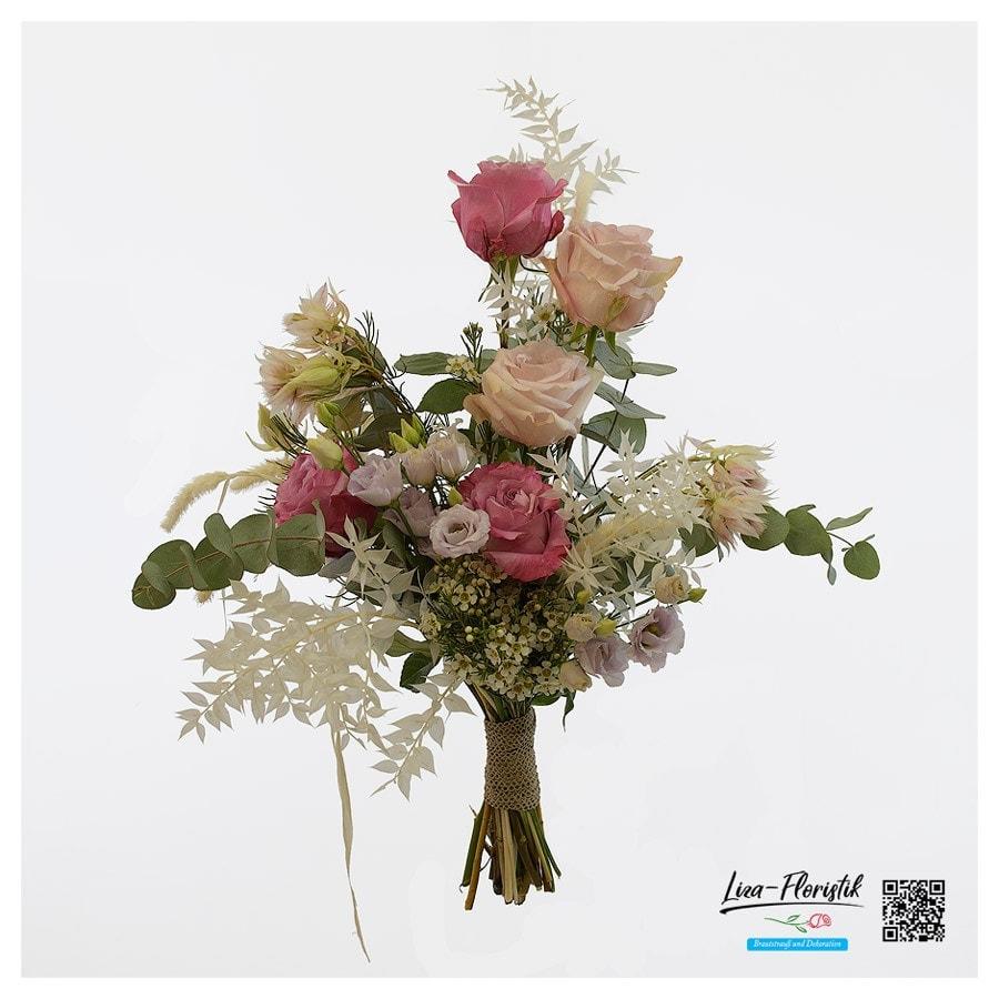 Hochzeit - Brautstrauß mit Ecuador Rosen, Lisianthus, Wachsblumen, Ruscus und Eukalyptus