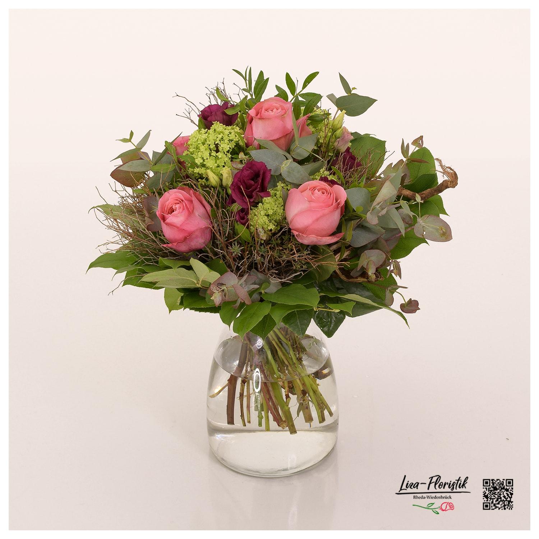 Blumenstrauß mit Rosen, Spinosa, Lisianthus, Eukalyptus und Schneeball